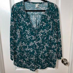 H&M Flowy Floral Blouse XL